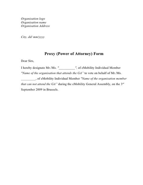 proxy letter template proxy power of attorney form