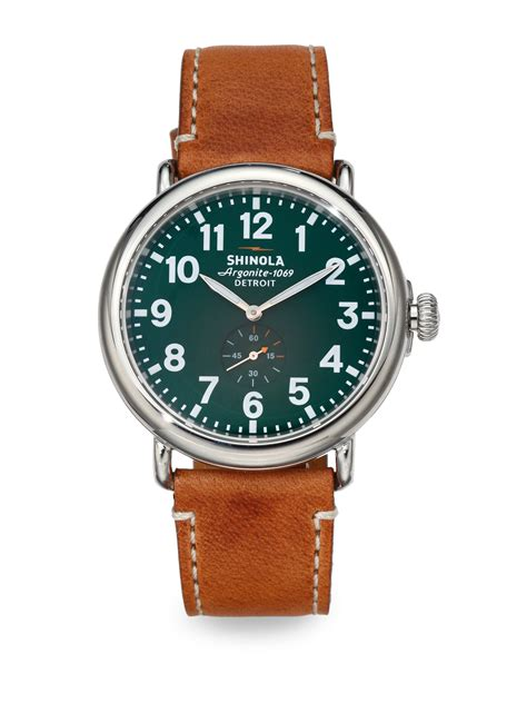 shinola runwell stainless steel in green for lyst
