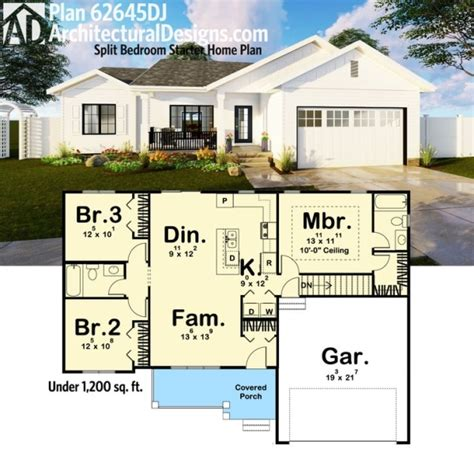 starter home plans architectural designs 3 bed house plan 62645dj makes a great starter home 1 200 square
