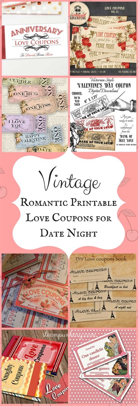 free printable vintage love coupons vintage romantic printable love coupons for date night