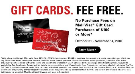Visa Gift Cards No Fee To Purchase - no fees on visa gift cards this week macerich malls targeted will run for miles