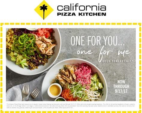 California Pizza Kitchen Coupons Second Powerbowl Free Promo Code California Pizza Kitchen