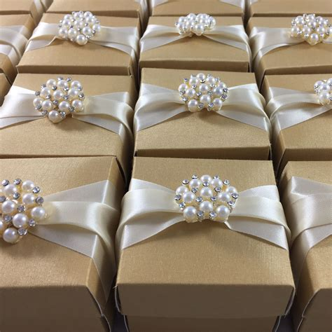 Wedding Favor Boxes by Golden Wedding Favour Box With Ribbon Featuring