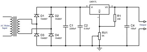 alimentatore lm317 variable power supply using lm317 voltage regulator