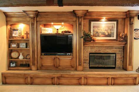 Burnished Wood Entertainment Center   Custom Cabinets