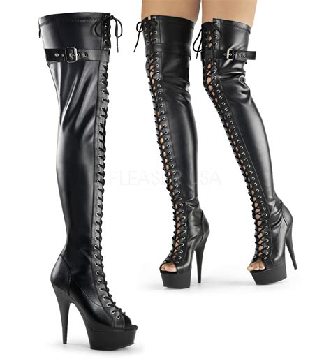pleaser delight 3025 lace up thigh high boots