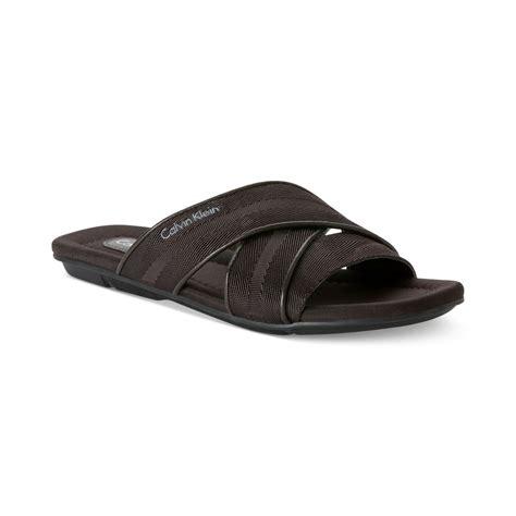 calvin klein sandals mens calvin klein rodolfo slide sandals in brown for lyst