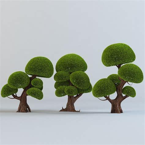 tree set go around tree trees set 3d model max obj cgtrader