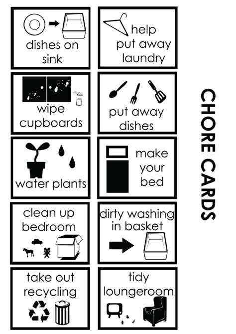 picture chore card template teaching currency and maths using a chore chart childhood101