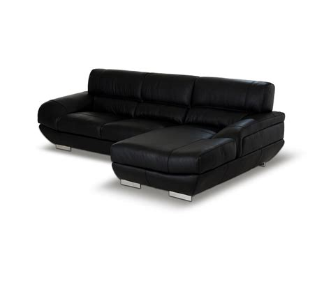 Black Leather Sofa Modern Dreamfurniture Alfred Modern Black Leather Sectional Sofa
