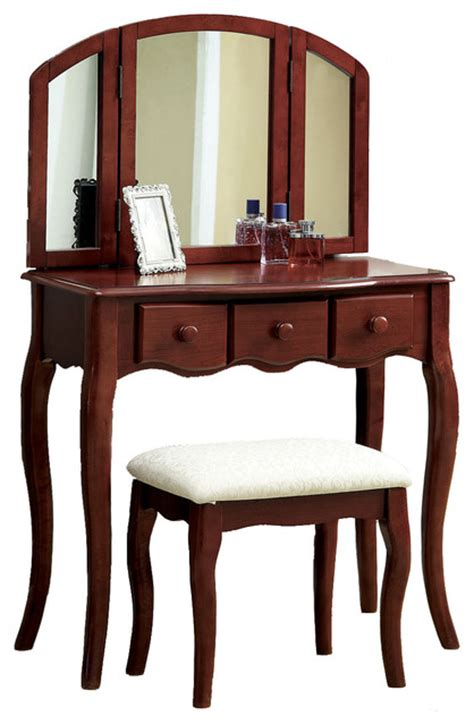 bedroom vanity table with drawers tri folding mirror 3pc wood make up table padded bench