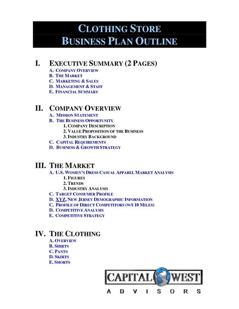 clothing store business plan template free clothing line business plan template free free business