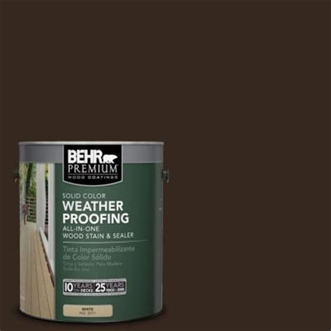 behr premium 1 gal sc 105 padre brown solid color weatherproofing all in one wood stain and