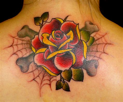 rose with spider web tattoo images designs