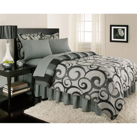 comforter bed in a bag alessandro reversible bed in a bag gray walmart com