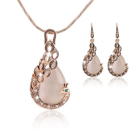 18k real gold plated opal peacock jewelry sets wedding