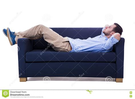 lying sofa handsome man lying on sofa isolated on white stock photo