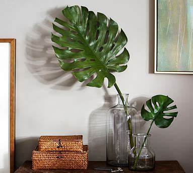 How To Mix And Match Furniture For Living Room faux broad leaf palms pottery barn