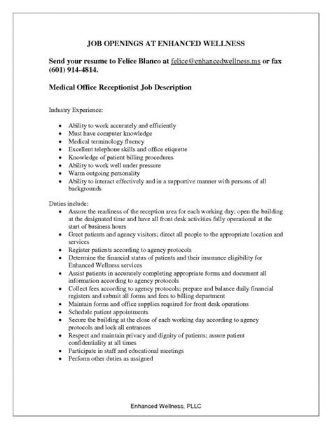 description of a cover letter receptionist duties for resume sles of resumes