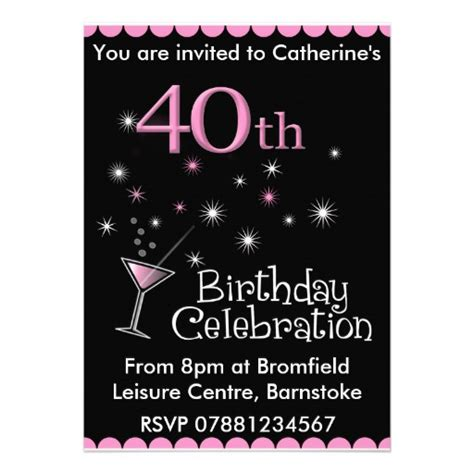 40th birthday invites templates 40th birthday invitation cocktail glass 5 quot x 7