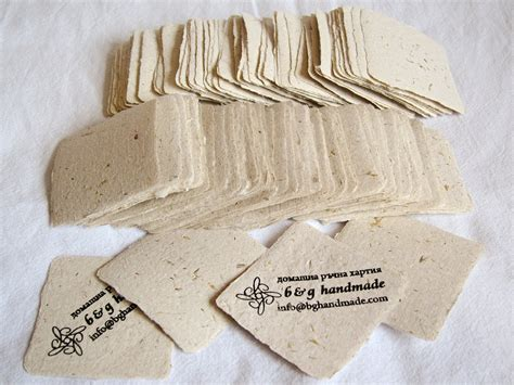 The Handmade Card Company - handmade paper square business cards bits of straw and