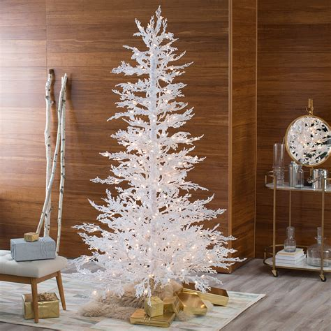 flocked white twig tree pre lit full christmas tree