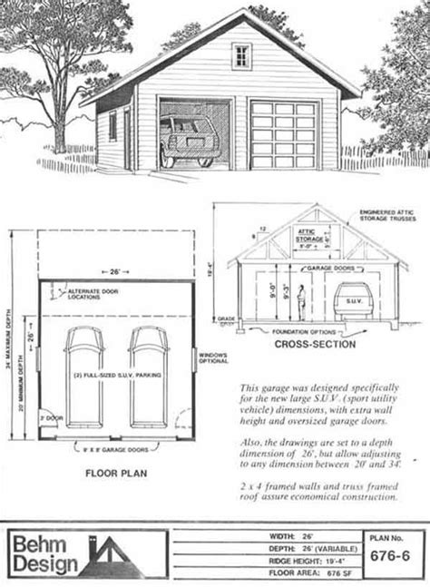 garage truss design suv sized two car garage with attic truss roof plan 676 6 26 x 26 by behm design garage