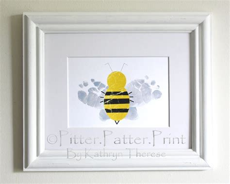 Baby Nursery Decor Bumble Bee Baby Footprint Art Print Bumble Bee Nursery Decor