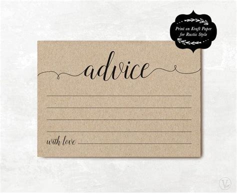 And Groom Advice Cards Template by Wedding Advice Card Template Printable Advice Card Diy