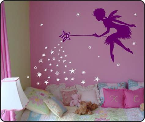 Nursery Wall Murals fairy wall decal with blowing stars wand vinyl nursery