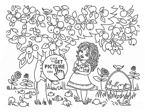 coloring page tree with fruit girl and apple tree coloring page for kids fruits