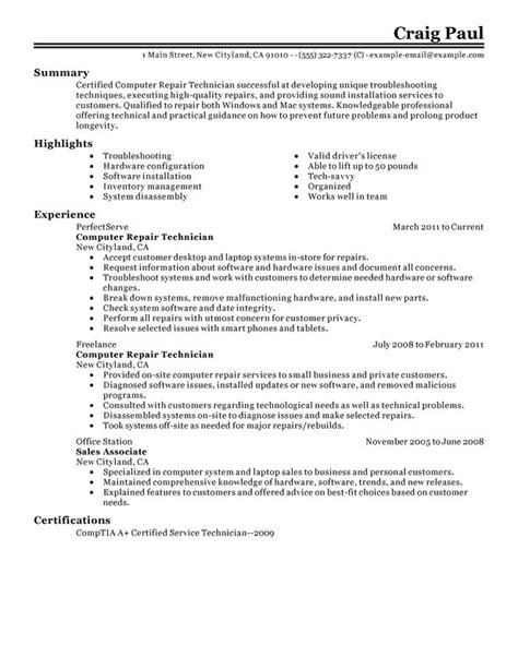 computer repair technician resume exles created by