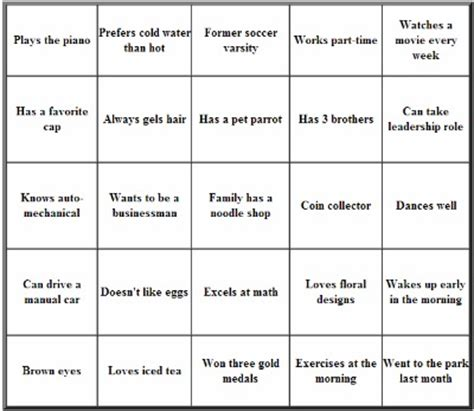 introduction bingo template use icebreakers to the negative atmosphere