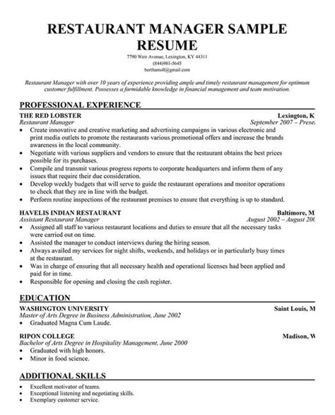 Restaurant Assistant Manager Resume by Restaurant Manager Resume Template Business Articles
