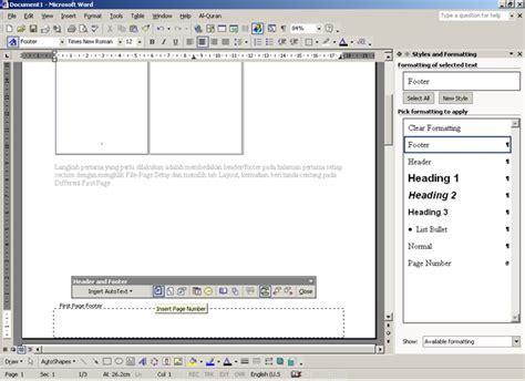 membuat penomoran yang berbeda pada halaman dokumen word 2007 bagaimana cara membuat format penomoran halaman yang