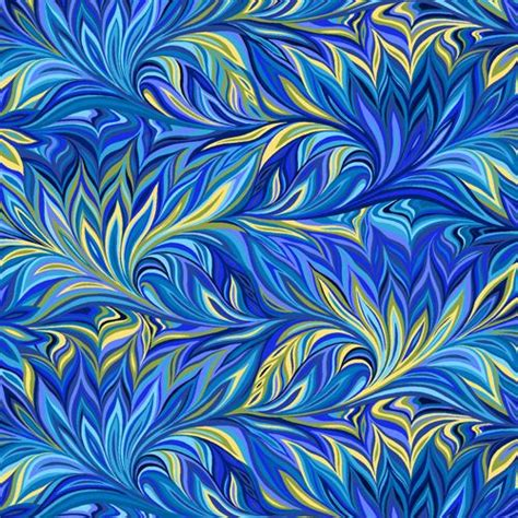 blue green pattern fabric blue green yellow leaf overlap pattern fabric by henry