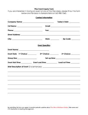 event enquiry form template fillable event inquiry form fax email print pdffiller
