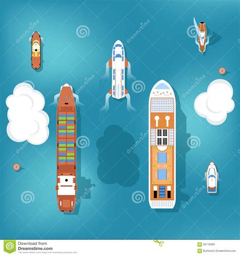 cartoon with boat in space set of vector ships top view stock vector image 56718385