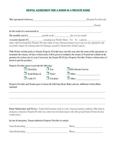 Rent A Room Tenancy Agreement Template Rental Form Blank Free Printable Forms California Studio Rental Agreement Template