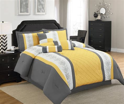 7 pcs comforter set with embroidered design twin full