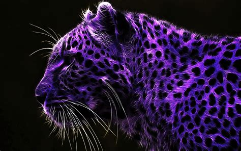 Purple tiger with black dots   Artistic wallpaper