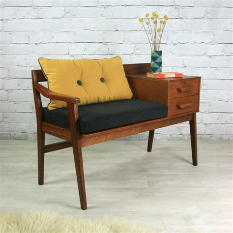 Furniture The Seat by Vintage Teak 1960s Telephone Seat Mustard Vintage