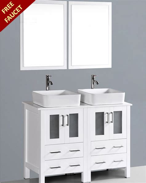 white double sink bathroom vanity white 48in double rectangular vessel sink vanity by