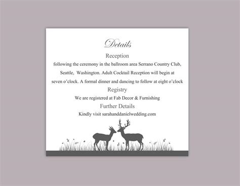 enclosure cards details for wedding free template diy wedding details card template editable word file