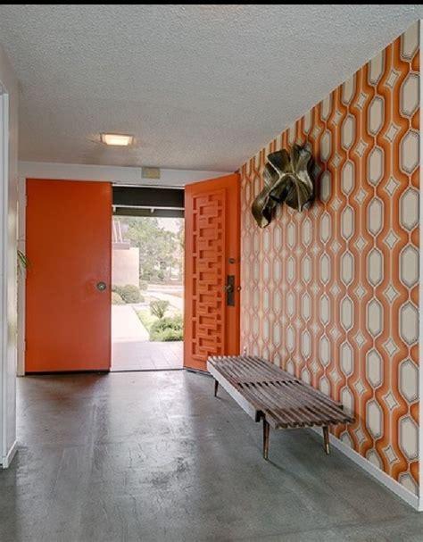 orange geometric mid century modern doors midcentury