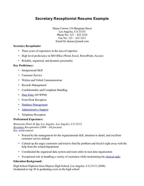 Resume Career Objective Receptionist free sle of resume for receptionist resume format