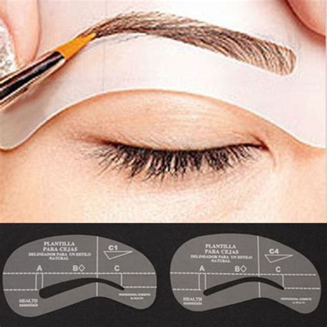 4 styles set women eyebrow model grooming stencil kit