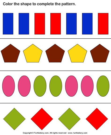 shape pattern problems complete the shapes and color pattern worksheet turtle diary