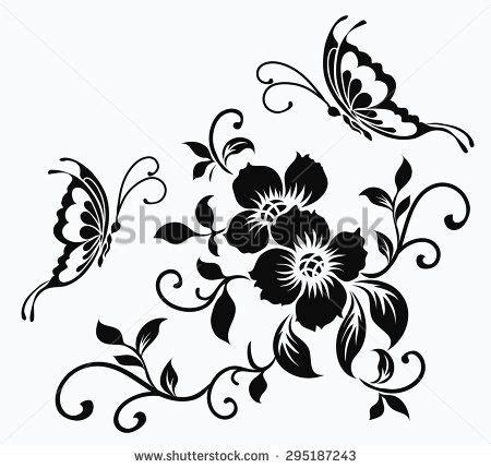 Motif Flower flower motif for design трафарет 2