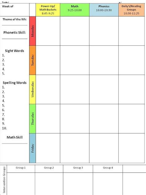intervention lesson plan template 17 best ideas about daily schedule template on